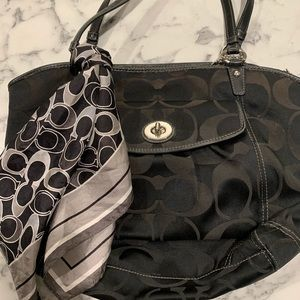 Authentic coach purse with scarf